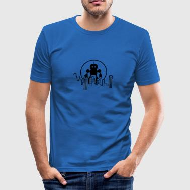 Robot Robot City Skyline - Men's Slim Fit T-Shirt