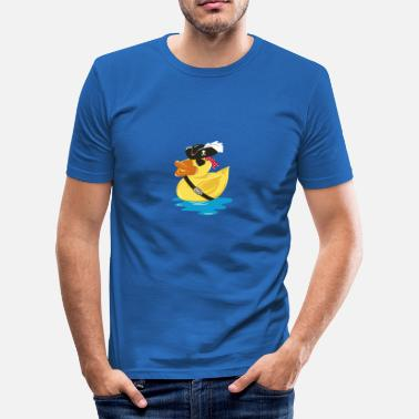 Duck Pirate Pirate Rubber Duck with a pirate hat and eye patch - Men's Slim Fit T-Shirt