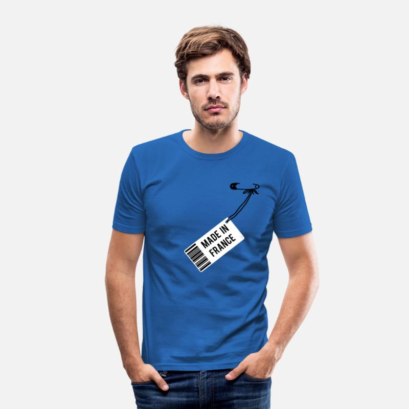 France T-shirts - Made in France - T-shirt moulant Homme bleu roi