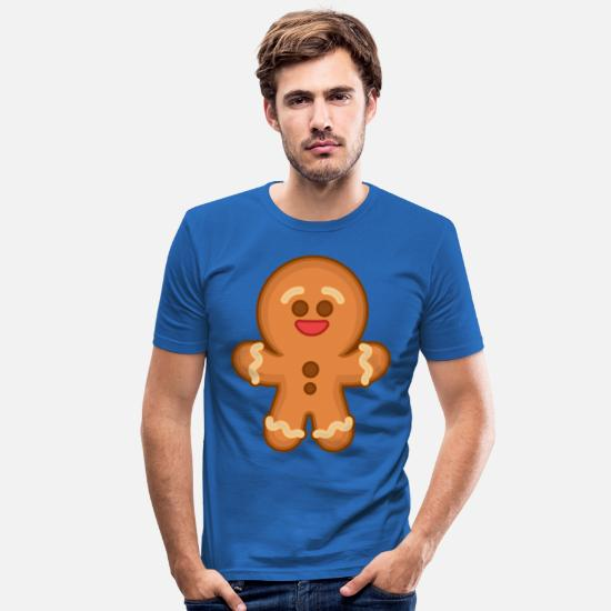 Winter T-Shirts - Gingerbread man - Men's Slim Fit T-Shirt royal blue