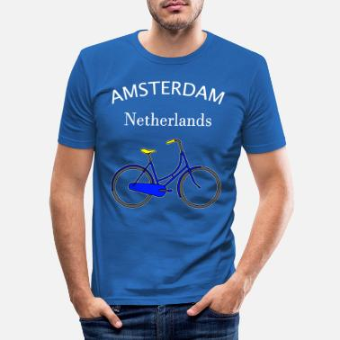 Holland Dutch Soccer Amsterdam Bicycle Map Fan - Men's Slim Fit T-Shirt