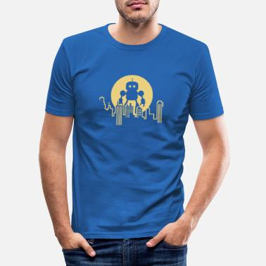 Nerd Robot City Skyline - Men's Slim Fit T-Shirt