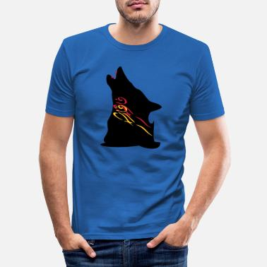 Howling Wolf-Roaring Wolf with Bloody Teeth - Men's Slim Fit T-Shirt