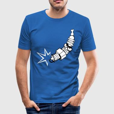Spark plug comic with face - Men's Slim Fit T-Shirt