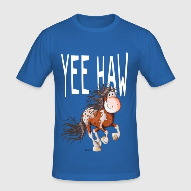 Yee Haw Pferd - Appaloosa - Wildpferd - Comic - Männer Slim Fit T-Shirt