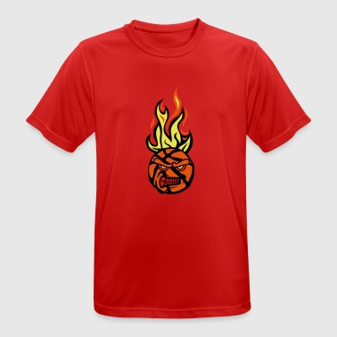 Basketball-Cartoon-Gesicht flamme13 Feuer fe - Männer T-Shirt atmungsaktiv