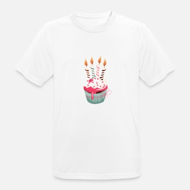 Four Candles Cupcake with four candles - Men's Breathable T-Shirt