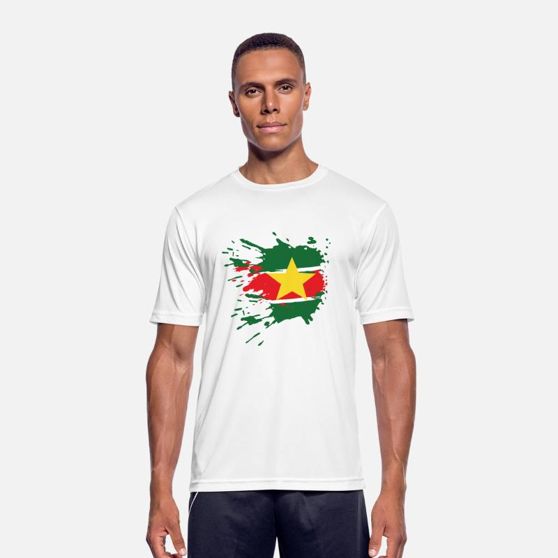Love T-Shirts - Suriname flag - Mannen sport T-shirt wit