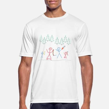 Public Figure Stick figures fell Christmas tree, tight family - Men's Breathable T-Shirt