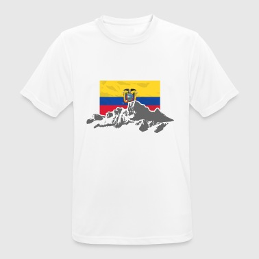 Ecuador - Mountains & Flag - Camiseta hombre transpirable