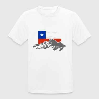 Chile -  Mountains & Flag - T-shirt respirant Homme