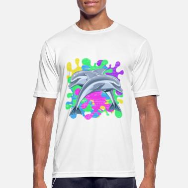Color Splash Splashes of color and dolphins - Men's Sport T-Shirt