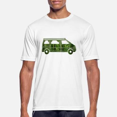 Van Camper Van with curtains, forest, gift - Men's Sport T-Shirt