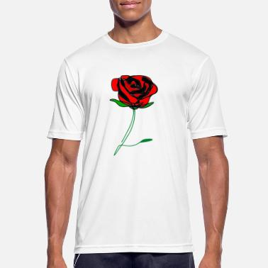 ❤️✦°Romantic Red Rose-Timeless Rose Line Art - Men's Sport T-Shirt