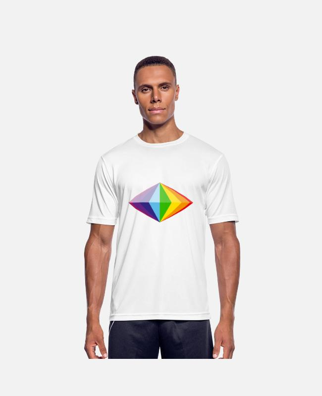 Gay Pride T-shirts - Rainbow Diamond - Mannen sport T-shirt wit