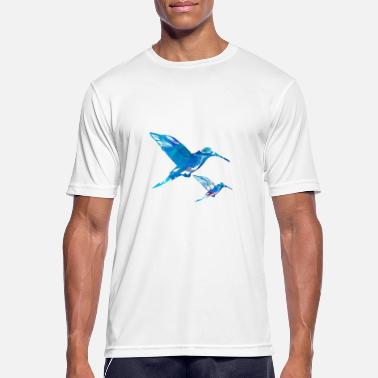 Flock Of Birds hummingbird, blue, bird, flying, watercolor - Men's Sport T-Shirt