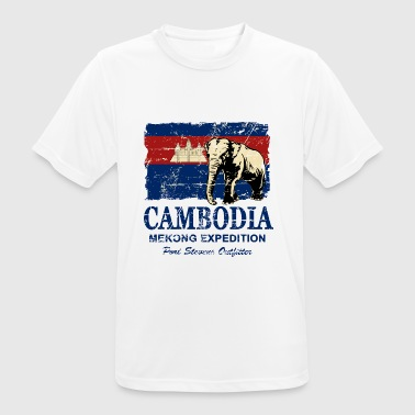 Cambodia - Elephant - Vintage Look  - T-shirt respirant Homme