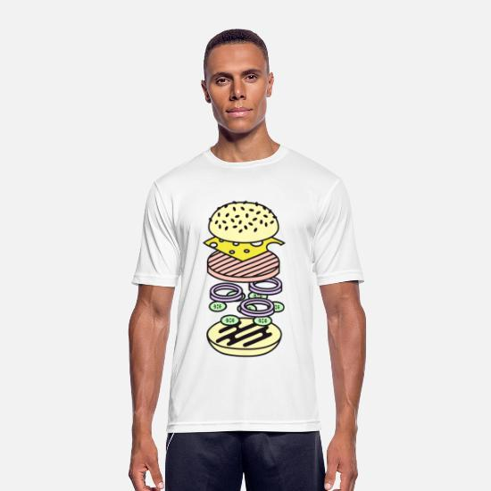 Food Collection V2 T-shirts - Burger - Sport T-shirt herr vit