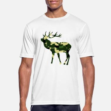 Deer in camouflage color with big antlers - Men's Sport T-Shirt