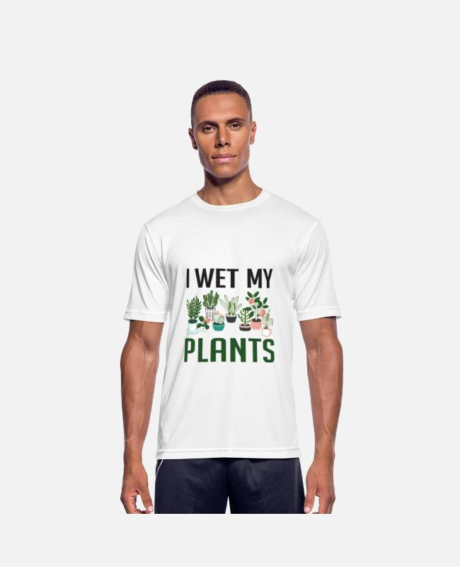 Funny Unicorn T-shirts - I Wet My Plants Funny Plant Lover Girls T Shirt - Sports T-shirt mænd hvid