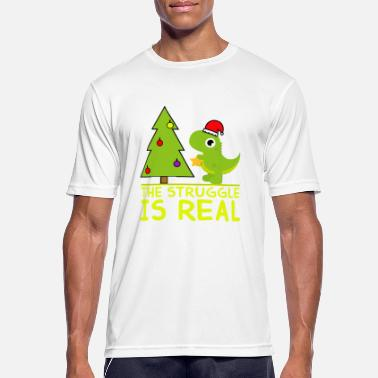 Dinosaur Decorates a Christmas Tree Gift Funny Des - Men's Sport T-Shirt