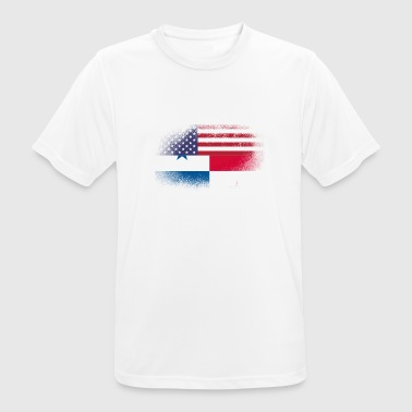Mixed Flag Distressed Half America Half Panama Flag Mix - Men's Breathable T-Shirt