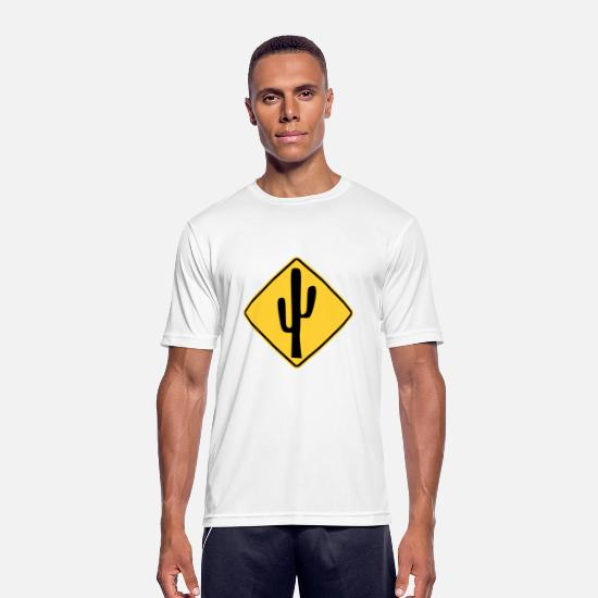 Usa T-Shirts - Cactus traffic sign stop - Men's Sport T-Shirt white