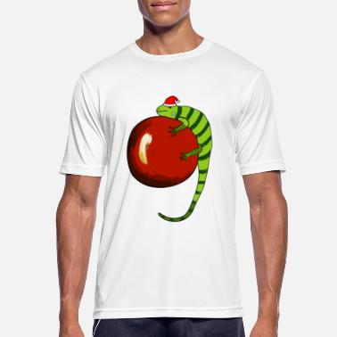 Iguana with Santa hat - Men's Breathable T-Shirt