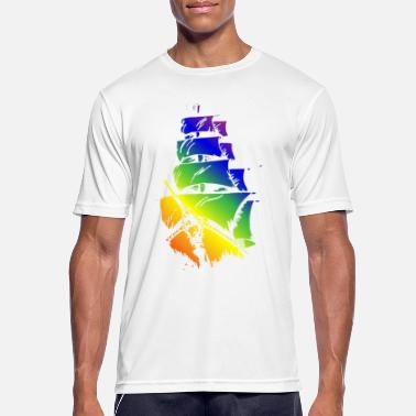 Pirate Ship in LGBT flag - Men's Sport T-Shirt