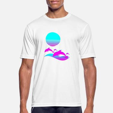 Aesthetic Aesthetic Vaporwave Dolphin Retro 1980s Sun Set - Men's Breathable T-Shirt