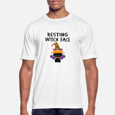 Kat Hvilende WItch Face Halloween Cat Design - Herre T-shirt svedtransporterende