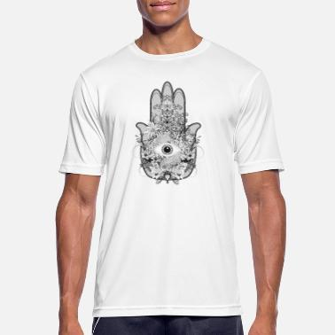 Evil artistically decorated hand of Fatima with eye - Men's Sport T-Shirt