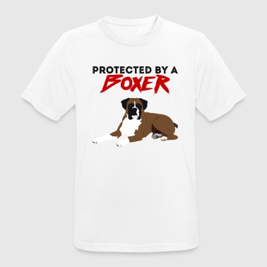 Dog / Boxer: Protected By A Boxer - Men's Breathable T-Shirt