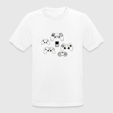 Video Game Play Station datanörd nörd ko - Andningsaktiv T-shirt herr
