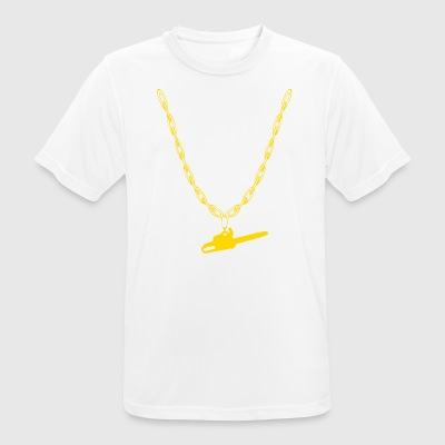 Chain saw woodcutter gold chain - Men's Breathable T-Shirt