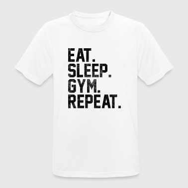 Eat Sleep Gjenta Gym Fitness Bodybuilding - Pustende T-skjorte for menn