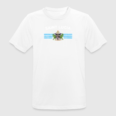 Saint Lucian Flag Shirt - Saint Lucian Emblem & Sa - Men's Breathable T-Shirt