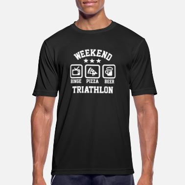 Weekend triathlon pizza beer binge watching - mannen T-shirt ademend