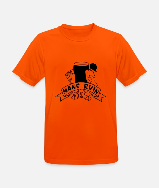 Tattoo Drugs T-Shirts - Mans Ruin Sex Drugs Rock and Roll Pinup Girl - Men's Sport T-Shirt neon orange
