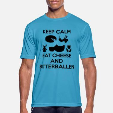 KEEP CALM Eat Cheese and Bitterballen Color Vector - Mannen sport T-shirt