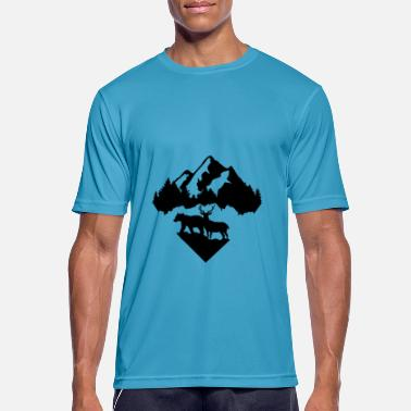 Bear, Deer, Forest and Mountains - Men's Breathable T-Shirt