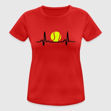 Tennis ECG, Heartbeat & Tennis Ball - Camiseta mujer transpirable