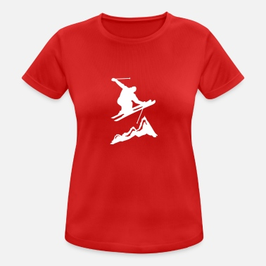 Skidor ski jump with mountains 2 - Vrouwen sport T-shirt