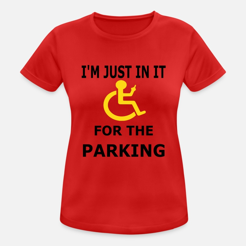 Disability T-Shirts - Parking - Women's Sport T-Shirt red