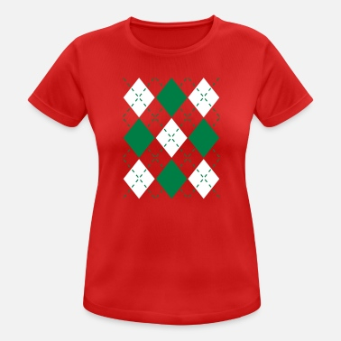 Foute Kersttrui Ugly Argyle lozenges pattern Christmas sweater - vrouwen T-shirt ademend