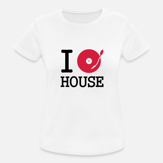 Deejay T-shirts - I dj / play / listen to house - Vrouwen sport T-shirt wit