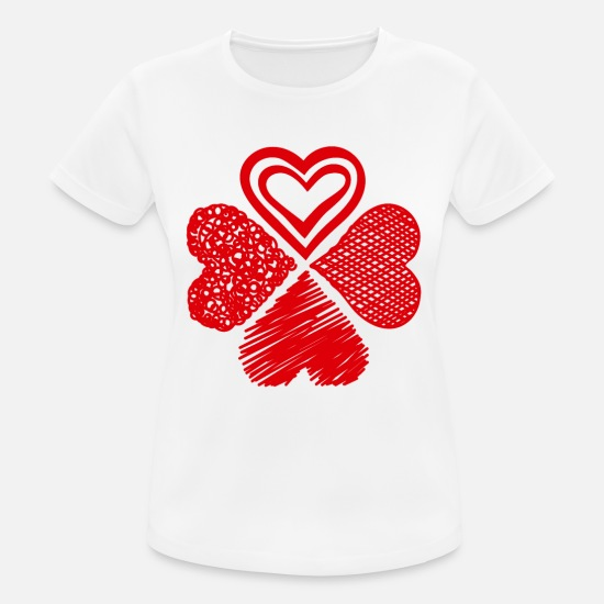 Love T-Shirts - Four-leaf clover of four hearts Valentine's Day - Women's Sport T-Shirt white
