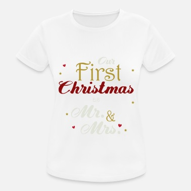 Vermählt frisch vermählte Our First Christmas As Mr und Mrs 2018 - Frauen Sport T-Shirt