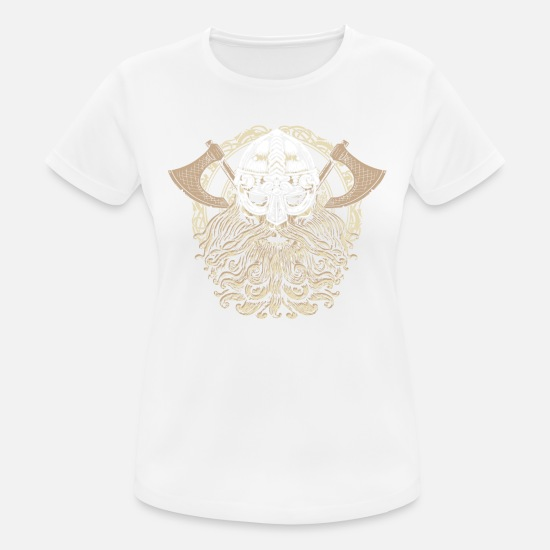 Viking T-Shirts - Viking head skull beard Valhalla Odin gift - Women's Sport T-Shirt white