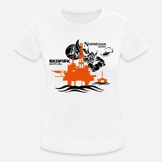 Sea T-Shirts - Ekofisk Oil Rig Platform North Sea Norway - Women's Sport T-Shirt white